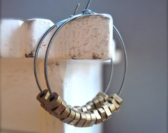 Hoop Earrings with Brass Beads in Oxidized Sterling Silver, Mixed Metal Hoop Earrings, Under 30 Gift