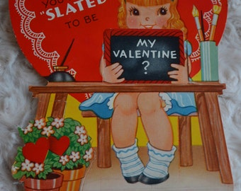 Vintage Valentines School Girl 1940s WW 2 Ameri-card