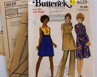 1970s Vintage Butterick Maternity Dress, tunic and pants pattern 6519
