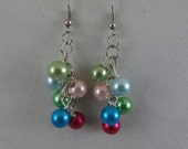 Colorful Cluster Pearl Earrings