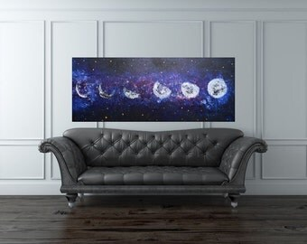 MADE TO ORDER: Universe Moon Phases Lunar Textured Moon Night Sky Art work