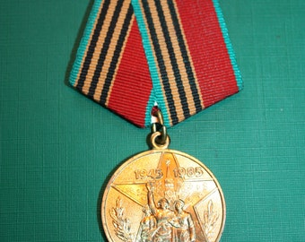 Vintage Medal - Original Soviet Russian Medal for 40th Anniversary of Victory over Germany USSR - Patriotic War 1941-1945 - USSR