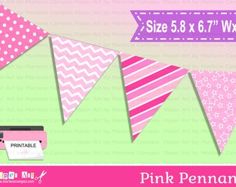 Pink Pennants, Printable Pink Banner, Printable Pennant, Party decor, Birthday Party - INSTANT DOWNLOAD