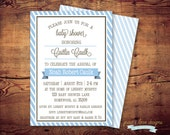 Printable Modern Stripe Baby Shower Invitations (digital file) DIY Printing at home or your choice of printer