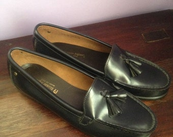 Vintage Etienne Aigner Genuine Leather Penny Loafers with Tassel, Made in USA: Size 9.5