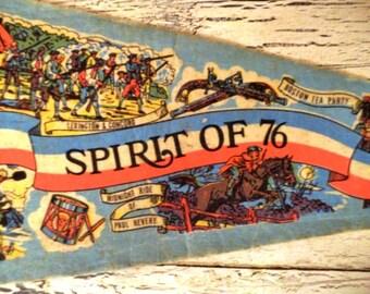 Vintage Felt Souvenir Pennant - Spirit of 76 - Boston
