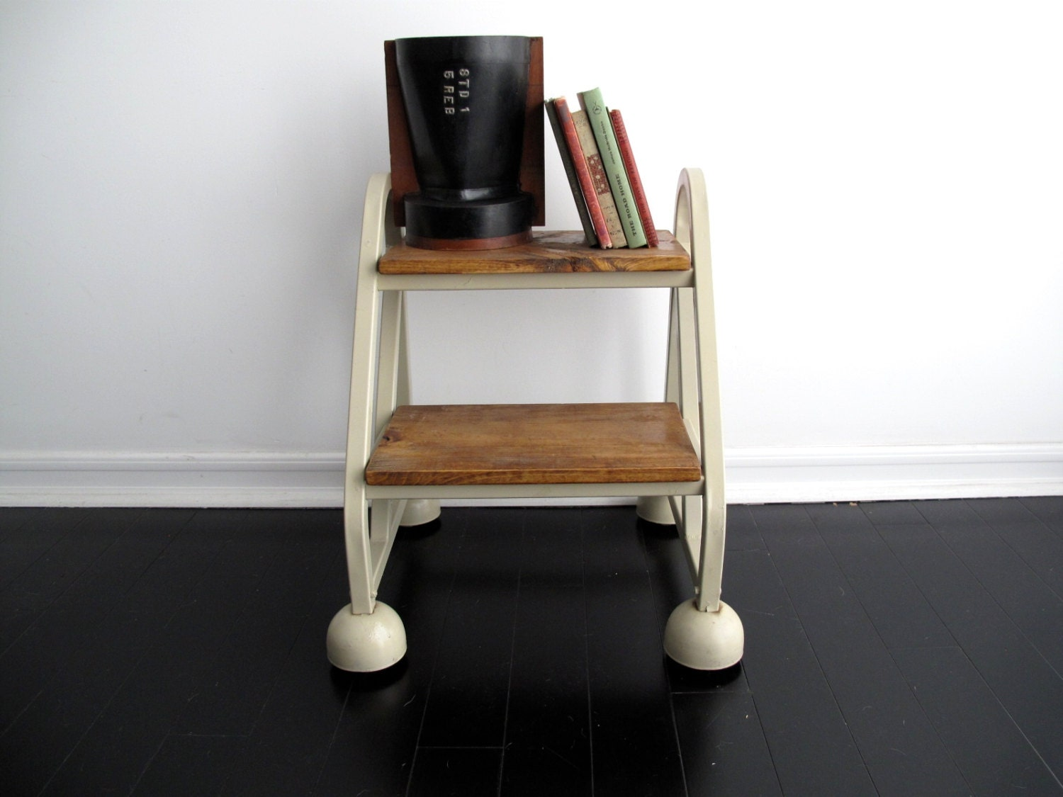 Vintage Step Stool Rolling Side Table Ladder By