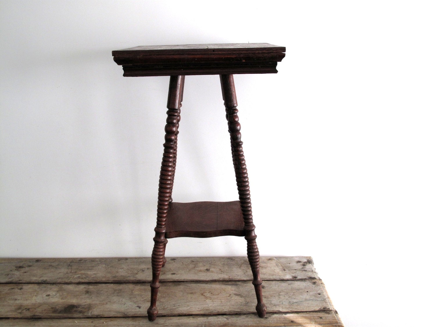 Vintage wood side table with spindle legs by snapshotvintage
