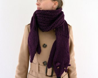 Hand knit long fox scarf in plum with polymer clay buttons