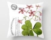 Throw Pillow Cover - Purple Flower on Vintage Ephemera - 16x16, 18x18, 20x20 - Pillow case Original Design Home Décor by Adidit
