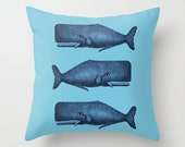 Throw Pillow Cover Three Whales - Blue - 16x16, 18x18, 20x20 - Nursery Bedroom Living room Original Design Home Décor by Adidit