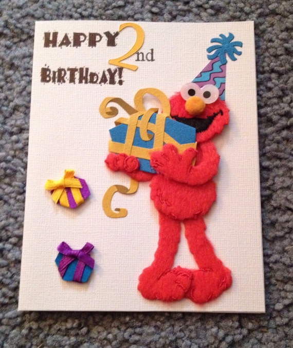 Elmo 2nd Birthday Card By Daisycreationsbyjess On Etsy