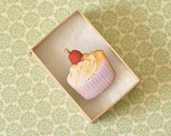 Cherie Wooden Cupcake Brooch