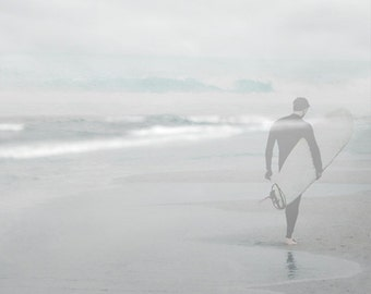 Surfer Photograph, Pale Gray Blue Print, Ghostly Ethereal Surfer Photograph, Misty Ocean Seashore Surfer 8x12