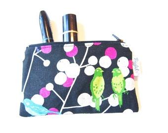 Mini Wet Bag / Coin Purse / Makeup Bag with Waterproof Lining - Echino Birds (Black)