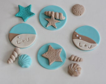 Fondant Wedding or Engagement Beach Ocean Sea Shells, Starfish and Initials for Decorating Cupcakes or Cookies
