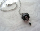Black Crystal Diamond And Silver Essential Oil / Perfume Bottle Necklace