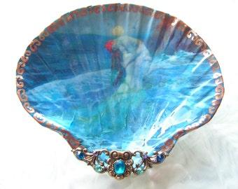 Mermaid Lovers Under The Moon Medium Size Shell Jewelry Dish