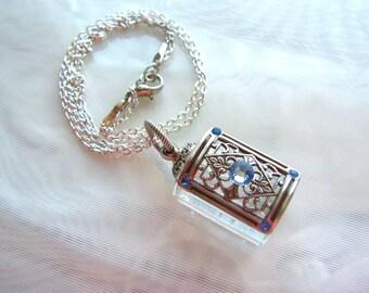 Vintage Inspired Silver Filigree Crystal Perfume Bottle Necklace