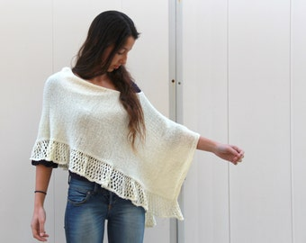 Off White Cream  Poncho Knit Lace Shawl Hand Knit Wrap knitted Poncho