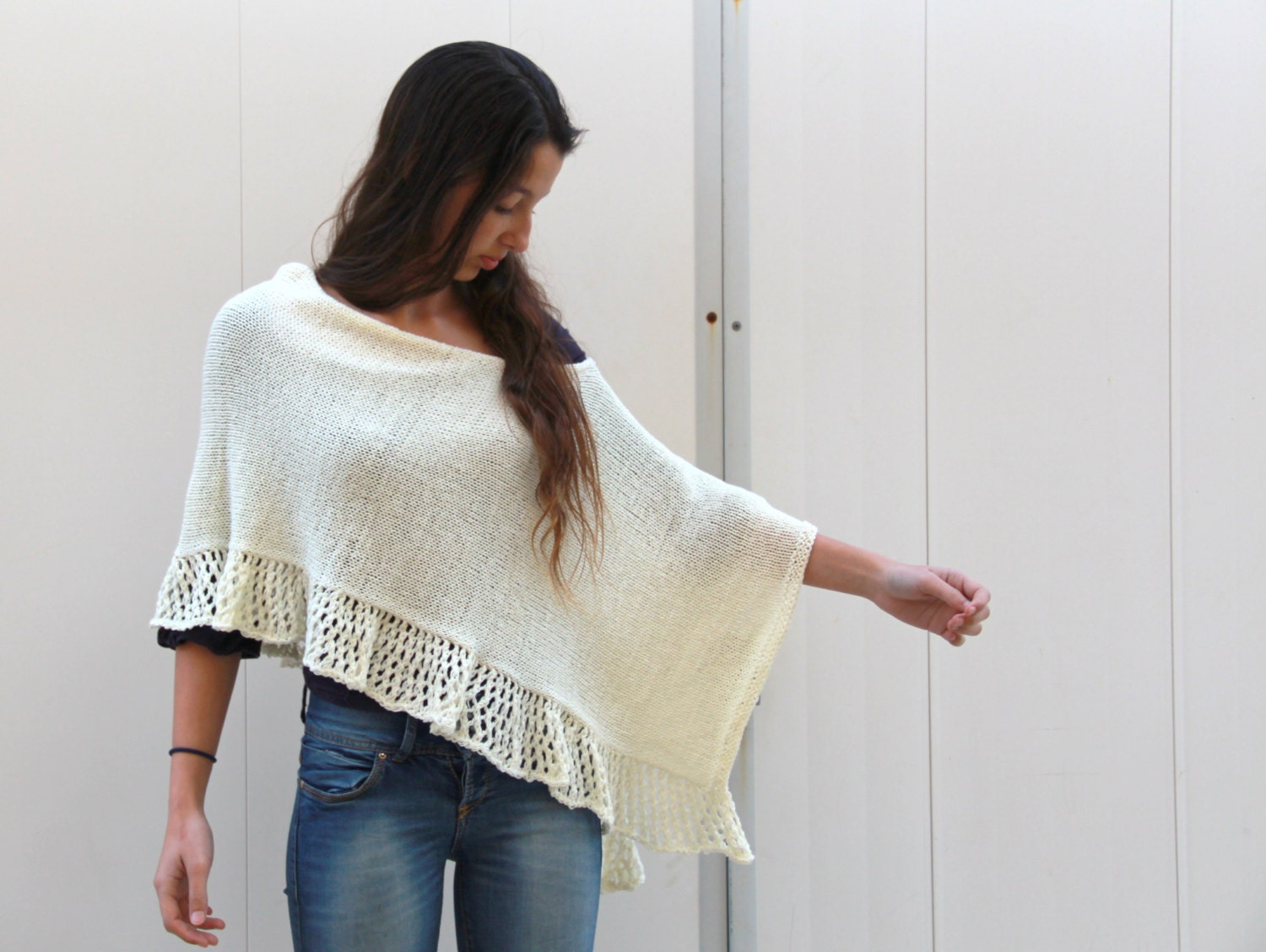 Knitting Pattern Poncho Wrap : Off White Cream Poncho Knit Lace Shawl Hand Knit Wrap knitted