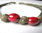 Sweet red beans - linen necklace