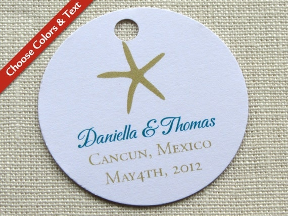 Bridal Shower Favor Tag Wording : Beach Starfish Wedding Favor Tag Bridal Baby Shower Gift Tag