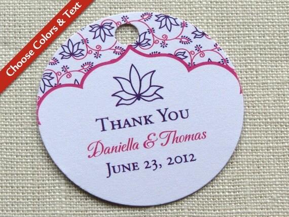 Floral Lotus Or Ganesh Wedding Favor Tag Bridal Baby Shower