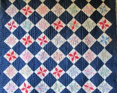 Reserved for Customer  Antique EIGHT POINT STARS Vintage Quilt Full of Pretty Fabrics