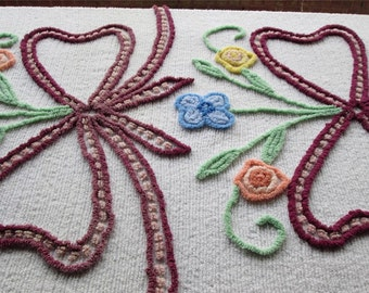 Vintage CHENILLE Bedspread FLOWERS & Bow Charming COTTAGE Chic