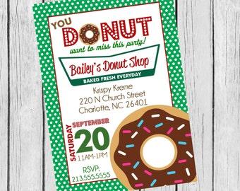 Polka Dot Krispy Kreme Donut Party Printable Invitation