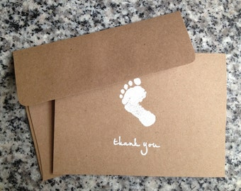 Baby Shower Thank You Card Rustic Baby Foot Print Shower Birthday Party Child