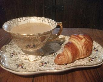 antique CAFE AU LAIT, continental breakfast, snack tray, Portuguese Vintage