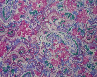 "Beautiful Cotton Fabric Yardage, Purples,Pinks, 45"" Wide, 11 Yds. Available, By the Yard"