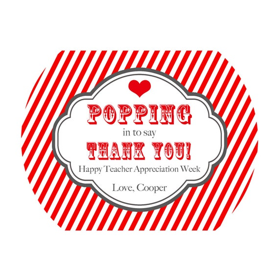 Printable Popcorn Teacher Appreciation Treat Bag