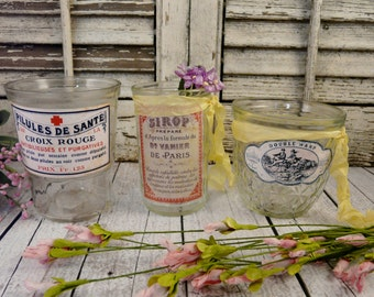 3 Shabby chic clear jars with labels - LOT paris french romantic set of paris medical medicine old