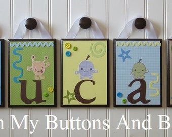 Children's Baby Name Decor . Hanging Name Letters . Hanging Crib Name Letters . Name Blocks . Children's Wall Decor . M2M Peek a Boo Monster