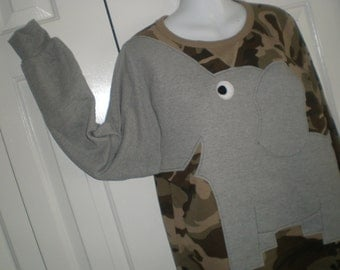 CLEARANCE Long sleeve camo shirt with an elephant front and trunk sleeve, adult size MEDIUM