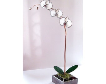 White Orchid in Stained Glass- Industrial Flower- sculpture- Made to Order.