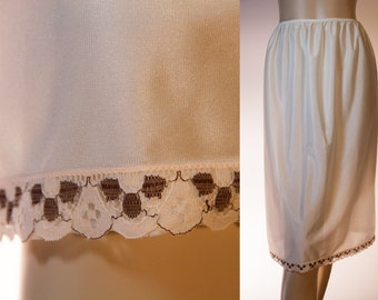 Vintage 80's Half Slip - attractive silky soft and shiny semi sheer cream nylon and contrasting caramel and brown lace trim petticoat - 2733