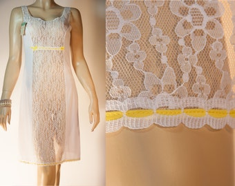 NWT unworn Stretta sheer soft white dederon and see through floral lace panel feature yellow trim 1970's vintage full slip petticoat - 2863