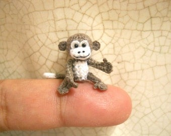 Micro Mini Monkey - Tiny Crocheted Monkeys - Made to Order