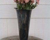 Silverplate Vase Monogrammed Shabby Urn