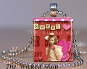 "Scrabble Tile Pendant Necklace -Vintage Valentine Pendant ""Sweet Love"" Altered Art -Comes with a FREE Silver Plated Ball Chain(AAV3)"
