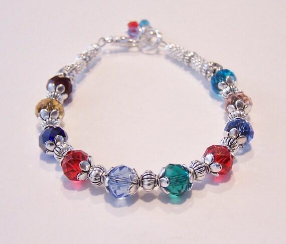 birthstone bracelet mothers grandmothers swarovski bracelet