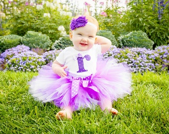 Purple Polka Dot Birthday Tutu Outfit and Matching Headband | Purple Polka Dot Number or Initial