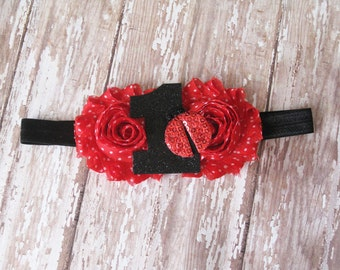 Ladybug Birthday Headband | Red, White, and Black Polka Dot Birthday Headband | Personalize for any Age | Newborn-Adult