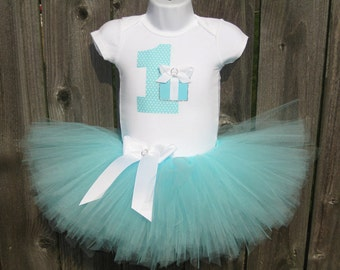 Baby's First Birthday Aqua Blue and White Tutu Set and Matching Headband | Birthday Photo Prop, Party Dress