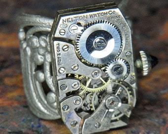 Men's or Women's STEAMPUNK Ring Jewelry - Torch SOLDERED - Vintage Rectangular NELTON Watch Movement w/ Jeweled Crown - Masculine Design