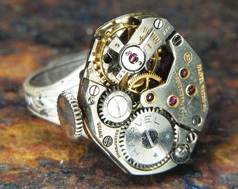 Women's Steampunk Ring - Vintage HARVEL Watch Movement w/ Gold Rimmed Rubies - Torch SOLDERED - Birthday, Anniversary Gift - Unique Design